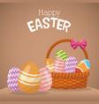 happy easter basket egg ornament vector image vector image