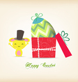 happy easter with egg inside gift box and bunny vector image vector image