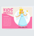 happy girl dressed as angel cute kid in christmas vector image