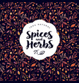 herbs and spices logo watercolor seamless pattern vector image vector image