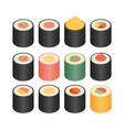 isometric flat icons 3d pictograms set - sushi vector image