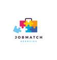 job search match briefcase puzzle logo icon vector image vector image
