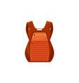 kid schoolbag orange backpack isolated icon vector image vector image