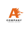 letter a and fire logo vector image vector image