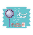 magnifying glass with social media icons vector image vector image
