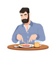 man enjoying food and drinks meat beer on table vector image