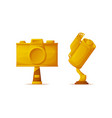 media award trophies in camera and film shapes vector image vector image
