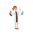 multitasking girl chemist character female vector image