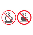 no coffee cup line and glyph icon prohibition vector image vector image