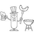 Patriotic Sausage Cartoon vector image vector image
