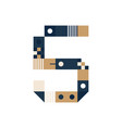 pixel art number five colorful number 5 consist vector image vector image