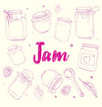 poster with lettering recipe jam vector image vector image