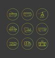 public city transport flat icons on a dark vector image vector image