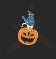 pumpkins head and zombies hand for halloween poste vector image
