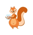 Red Squirrel Holding Aquarium With Pet Gold Fish vector image vector image