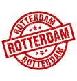 rotterdam red round grunge stamp vector image vector image