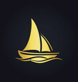 sailing boat ocean gold logo vector image vector image
