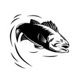 sea bass jumping retro vector image vector image