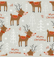 seamless pattern with deer and christmas trees vector image