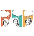set girls with speech bubbles vector image vector image