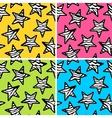 Set of 4 zebra print stars backgrounds vector image vector image