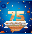 seventy five years anniversary celebration design vector image vector image
