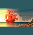 ship in sea on sunset happy columbus day national vector image