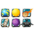 Spaceship and planets on square badges vector image vector image