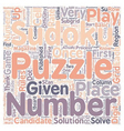 sudoku rules text background wordcloud concept vector image vector image