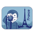 Teaser with photographer travels through France vector image