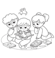 Three kids reading a pop-up book vector image