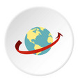 travelling by plane around the world icon circle vector image vector image