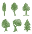Trees oak spruce bush willow symbolic icons vector image