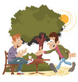 two friends meeting in park vector image vector image