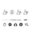 user edit profile and idea line icons vector image vector image