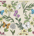 wildflowers and butterflies background vector image vector image