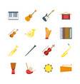 cartoon musical insrtuments color icons set vector image