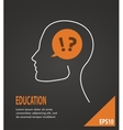 Human head with question and answer marks on black vector image