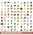 100 artistic essay icons set flat style vector image vector image