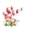 3d realistic pink peony elegant bouquet vector image vector image