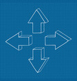 arrows four directions on blueprint background vector image