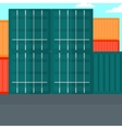 Background of shipping containers in port vector image
