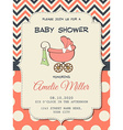 Beautiful baby girl shower card with stroller vector image vector image