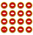 belt buckles icon red circle set vector image