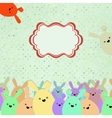 Card with colorful rabbits for life events EPS 8 vector image