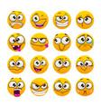 cartoon funny yellow faces comic emoji set vector image