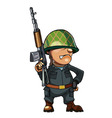 cartoon man soldier in a helmet with a gun vector image