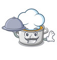 chef with food cooking pot of soup isolated on vector image