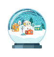 christmas snow globe with small houses vector image vector image