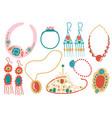 collection jewelry accessories necklace vector image